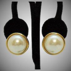 Signed Allison Reed Vintage Pierced Earrings Faux Pearl Golden