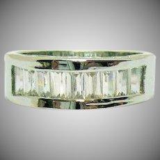 Wonderful Vintage Silver Metal Baguette Cubic Zirconia Band Ring