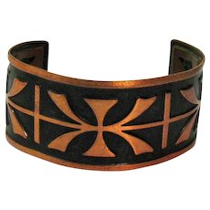 Signed Bell Trading Company Vintage Cuff Bracelet Native American Indian Copper Shadow Box