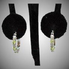 Signed RSE 925 Vintage Peridot Gemstone Diamond Chip Hoop Pierced Earrings