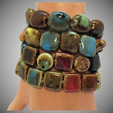 Four Vintage Ceramic Beaded Stretch Bracelets Earth Tones