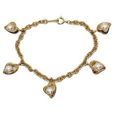 Vintage Heart Shaped Caged Faux Pearl Charm Bracelet