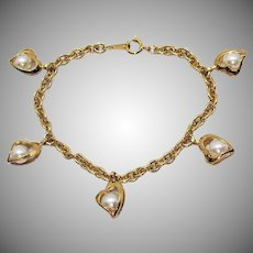 Vintage Heart Shaped Caged Faux Pearl Charm Bracelet