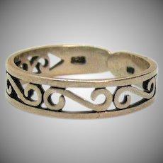 Vintage Sterling Silver Signed 925 NV Adjustable Ring
