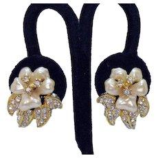 Signed Nolan Miller Vintage Faux Mobe Pearl Rhinestone Rhinestones Clip Earrings