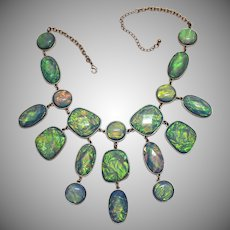 Amazing Vintage Art Glass Faceted Faux Opal Golden Bib Necklace Pierced Earrings Set