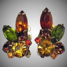 Gorgeous Vintage Rhinestone Sparkling Clip Earrings