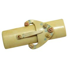 Art Deco Vintage Thermoset Rose Belt Buckle Brooch
