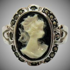 Vintage Costume Jewelry Cameo Marcasite Ring