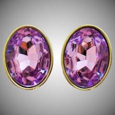Spectacular Vintage Lavender Rhinestone Statement Clip Earrings
