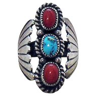 Signed Harvey Navajo Native American Indian Vintage Sterling Silver Coral Turquoise Ring