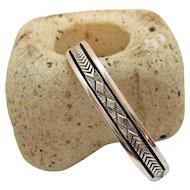 Signed Bruce Morgan Vintage Native American Indian Navajo Sterling Silver Cuff Bracelet 47.7 grams