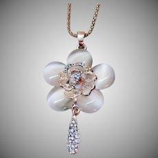 Unique Vintage Pava Rose Glass Moonstone Pendant Necklace
