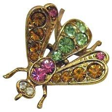 Signed Art Vintage Rhinestone Figural Bug Brooch