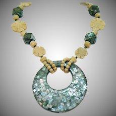 Big Bold Vintage Flower Bead Abalone Inlay Tetradecagon Beaded Necklace