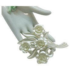 Unusual Vintage Early Plastic's 1930s Pearlized Celluloid Rose Bouquet Brooch