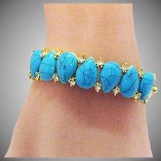 Amazing Vintage Golden Faux Turquoise CZ Hinged Bangle Bracelet