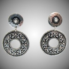 Awesome Vintage Hammered Silver Pierced Earrings Rhinestone Statement Costume Jewelry