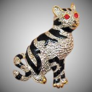 Big Vintage Kitty Cat Figural Enameled Mixed Metals Brooch