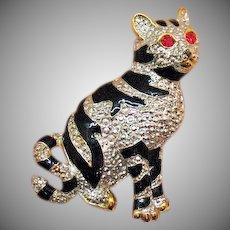 Big Vintage Kitty Cat Figural Enameled Mixed Metals Brooch