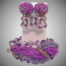 Vintage Unsigned Alice Caviness Lavender Hot Pink Beaded Memory Bracelet Earrings Set