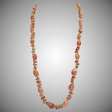 Vintage Orange Agate Beaded Nugget Brass Necklace