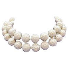 Awesome Vintage Faux Carved Ivory Resin Asian Beaded Necklace