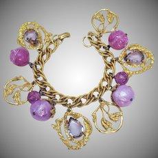 Stunning Vintage Lavender Rhinestone Confetti Lucite Faux Mobe Pearl Bracelet