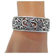Amazing Signed Carolyn Pollack Vintage Sterling Silver 925 Floral Cuff Bracelet 45.1 Grams!