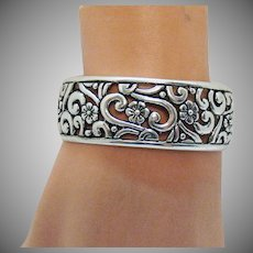 Amazing Signed Carolyn Pollack Vintage Sterling Silver 925 Floral Cuff Bracelet 45.1 Grams!