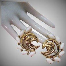 Signed Trifari TM Vintage White Lucite Marquise Golden Swirl Clip Earrings
