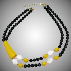 Wonderful Bright Bold Vintage Abstract Lucite Beaded Necklace