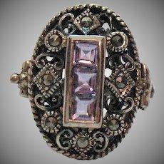 Vintage Sterling Silver 925 Emerald Cut Amethyst Marcasite Ring