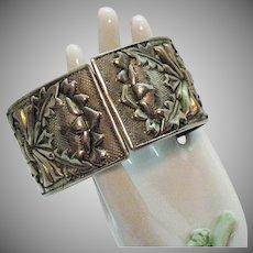Bold Vintage Victorian Revival Repoussé Silver Metal Hinged Bangle Bracelet