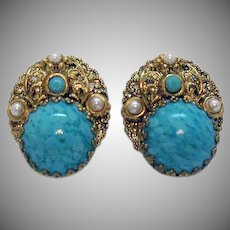 Signed West Germany Vintage Faux Turquoise Pearl Brass Clip Earrings