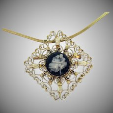 Vintage Convertible Pendant Brooch Enameled Cameo Courting Couple Necklace