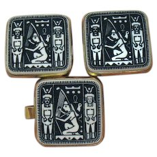 50% Off Unusual Vintage Unisex Ancient Egyptian Revival Tie Bar Cuff Link Set Free Shipping