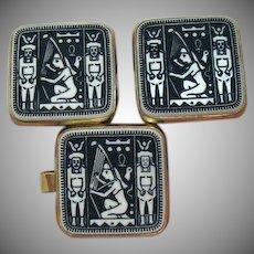 Unusual Vintage Unisex Ancient Egyptian Revival Tie Bar Cuff Link Set