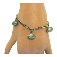 Unusual Victorian Antique Football Charm Bracelet FREE SHIPPING