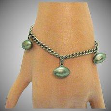 Unusual Victorian Antique Football Charm Bracelet
