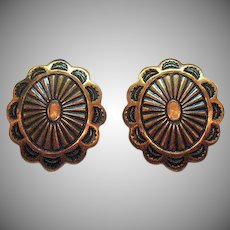 Vintage Copper Conch Early Native American Indian Screw Back Earrings