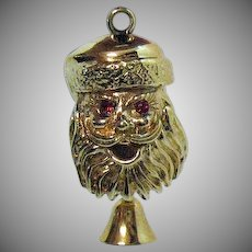 Unsigned Monet Vintage Santa Claus Mechanical Charm 'Have a Merry' Christmas