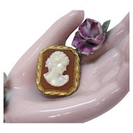 Gorgeous Gold Filled Early Century Vintage Convertible Octagon Cameo Pendant Brooch