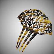 Antique Art Deco Large Faux Tortious Shell Celluloid Hair Comb