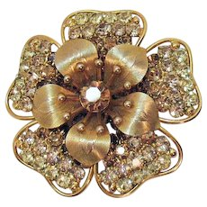 Stunning Signed Napier Vintage Rhinestone Flower Brooch