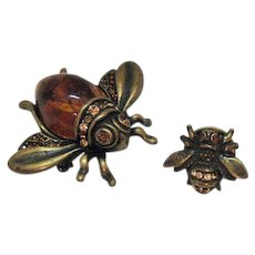 Vintage Faux Amber Lucite Jelly Belly Bronze Metal Bug Brooch with Baby Bug Clutch Pin