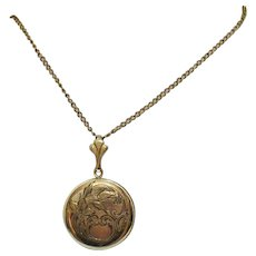 Very Old Art Deco Vintage 12K Gold Filled Etched Picture Locket Necklace
