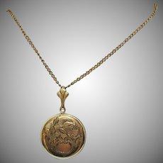 Very Old Art Deco Vintage 12K Gold Filled Etched Picture Locket Necklace