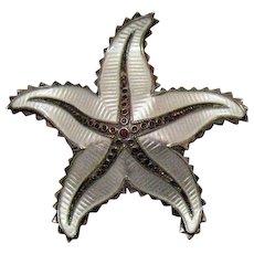 Signed H Ivar Holth Norway Vintage Sterling Silver Enameled Figural Star Fish Brooch