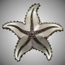 Signed H Ivar Holth Norway Vintage Sterling Silver Enameled Figural Star Fish Brooch